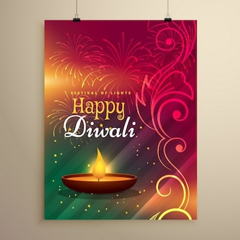 Bella modello diwali festival di auguri con decorazione floreale e diya realistico