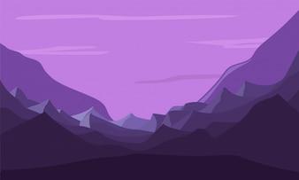 Bella natura viola paesaggio con le montagne.