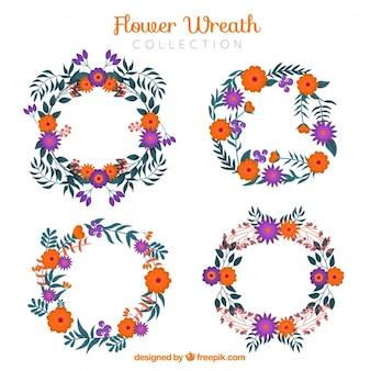 Bella raccolta di corona di fiori