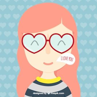 Bella ragazza con gli occhiali a forma di cuore