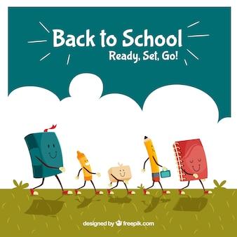 Bella schiena a scuola con i personaggi del materiale scolastico