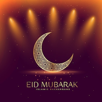 Bellissimo festival eid mubarak con la luna crescente