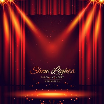 Bellissimo palcoscenico del teatro con le luci di messa a fuoco