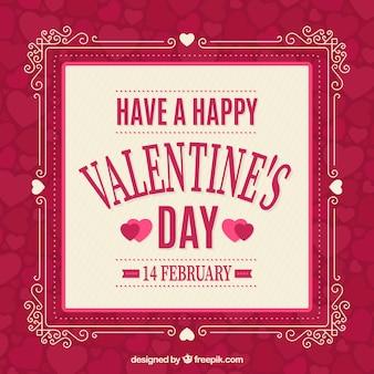 Bellissimo sfondo con cornice ornamentale per il giorno San Valentino
