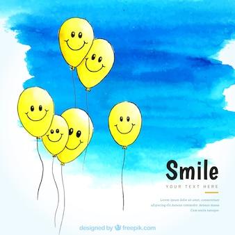 Bellissimo sfondo con personaggi palloncini sorridenti