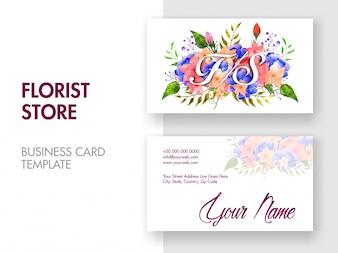 Bello biglietto da visita decorato floreale con presentazioni anteriori e posteriori. Biglietti da visita orizzontali,