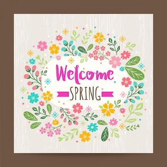 Benvenuto stagione primaverile illustrazione floreale su sfondo struttura di legno