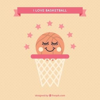Bianco canestro con la palla da basket bella