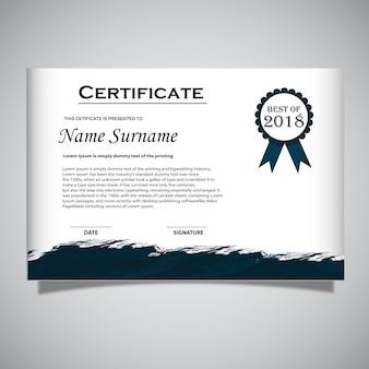 Bianco e Navy Blue Certificate Card