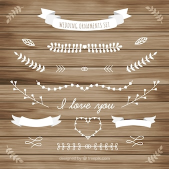 Bianco matrimonio ornamento raccolta foglie