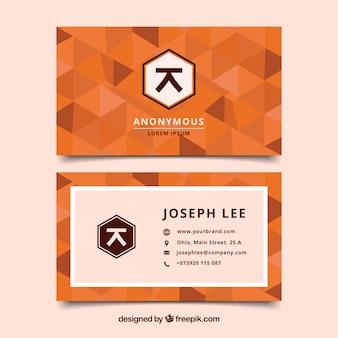 Biglietto da visita arancione geométrico