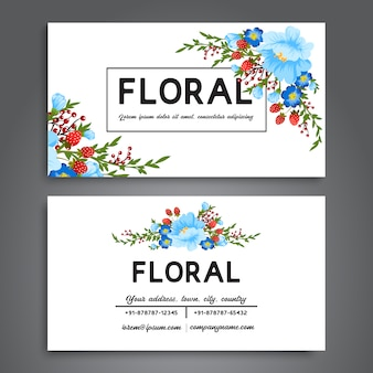 Biglietto da visita bianco con fiori blu