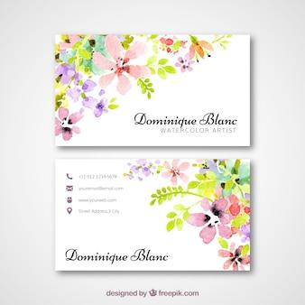 Biglietto da visita con fiori di acquerello