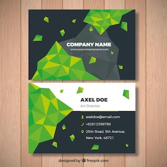 Biglietto da visita con forme geometriche verdi