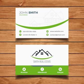 Biglietto da visita immobiliare pulito verde