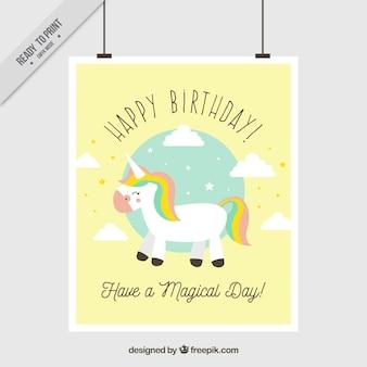 Biglietto di auguri di compleanno con unicorno