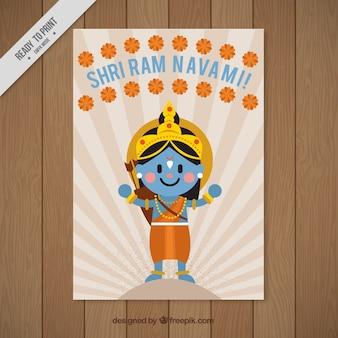 Biglietto di auguri fantastico con Rama e decorazione floreale