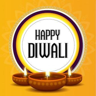 Biglietto di auguri Happy Diwali con lampade a olio illuminate.