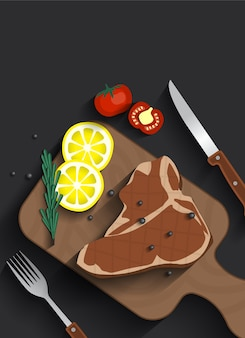 Bistecca di carne di carne cucinata sulla vista superiore della piastra di servizio