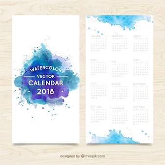 Blu acquerello macchie 2018 calendario