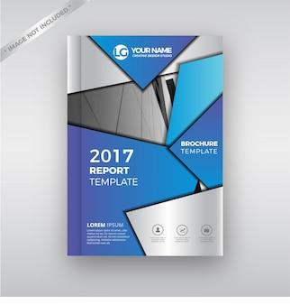 Blu Metallico Moderno Rapporto Annuale Cover Brochure Template Design