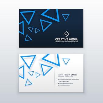 Blu modello triangolo biglietto da visita modello di progettazione vettoriale