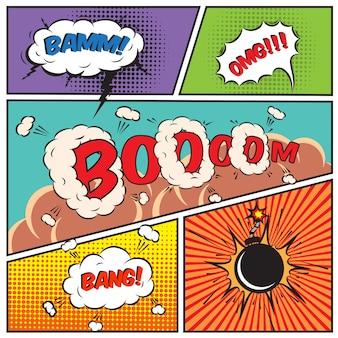 Bolle di discorso comiche e illustrazione vettoriale di sfondo fumetto
