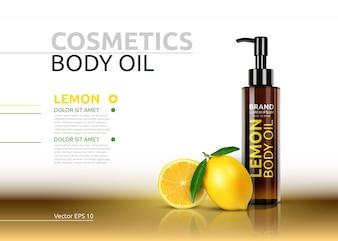 Bottiglie realistiche di olio del corpo di limone. Illustrazione 3D Mockup Vector.