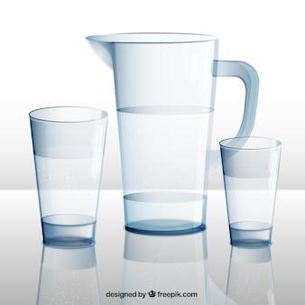 Brocca d'acqua e bicchieri