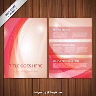 Brochure astratto con le onde rosse