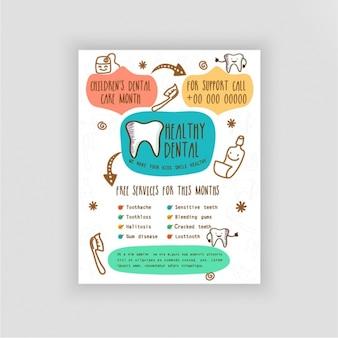 Brochure Dentista con gli elementi disegnati a mano