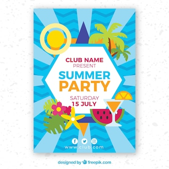 Brochure di partito estivo con elementi in design piatto