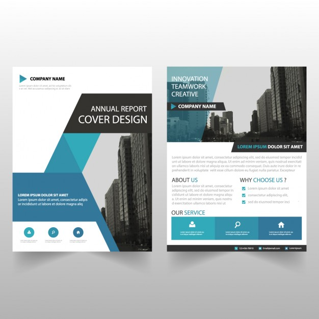 Brochure template triangolo blu