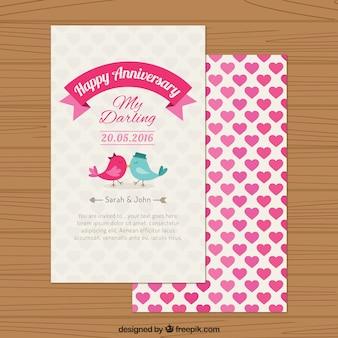 Buon anniversario uccello carino in amore carta