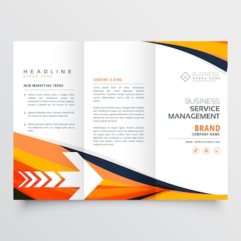 Business arancione tri fold opuscolo brochure design flyer relazione annuale