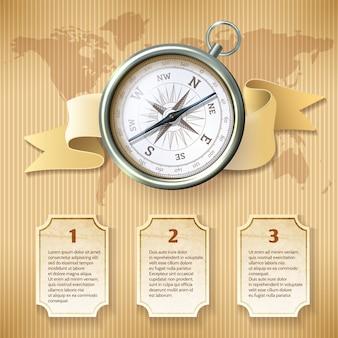 Bussola infografica d'argento