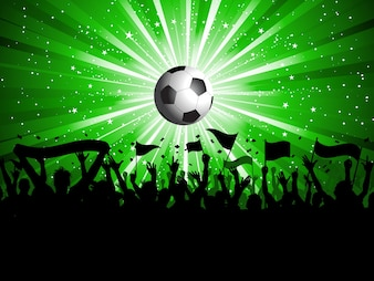Calcio sfondo con la folla in possesso di striscioni e bandiere