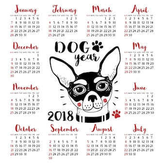 Calendario 2018 con cane. Capodanno cinese