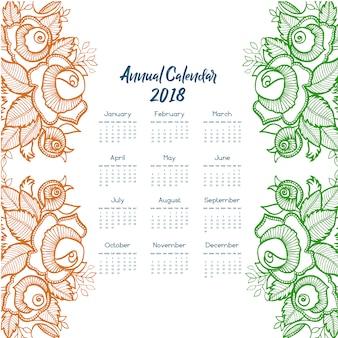 Calendario 2018 con disegno floreale