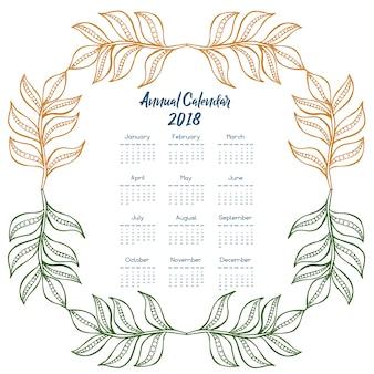 Calendario 2018 con foglie multicolori