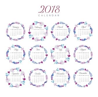 Calendario 2018 disegno floreale anello