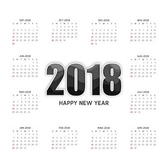 Calendario 2018 modello di disegno vettoriale anno stile minimalismo