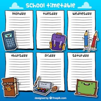 Calendario a mano della scuola disegnato con Elementi di Nizza