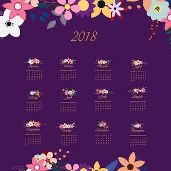 Calendario floreale viola