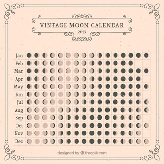 Calendario lunare in stile vintage