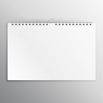 Calendario orizzontale o notebook modello di progettazione vuoto mockup