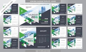 Calendario scolastico 2018 template - 12 mesi inclusi - Formato A5 - Tema Pennello Art