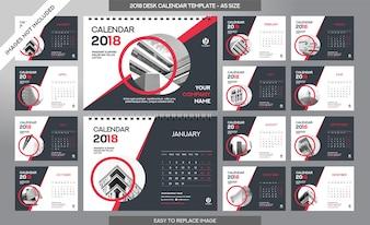 Calendario scolastico 2018 template - 12 mesi inclusi - Formato A5
