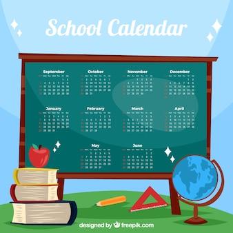 Calendario scolastico bella con lavagna e materiali
