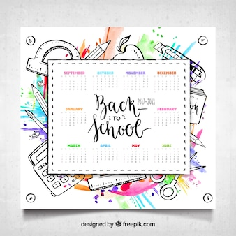 Calendario scolastico con materiali e stile acquerello